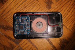 Koolpad innards showing charging coil and PCB