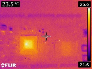 IR thermal view of the CPU when powered and running the external RAM test