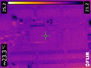 IR thermal view of the CPU when unpowered.