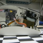 Haptic heightfield mouse demo guts partially assembled, actuator shown